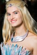 Young woman cosplayer wearing beautiful dress Stock Photos