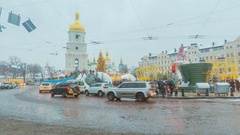 Time-lapse of traffic next to the Christmas festivity at the St Sophia Square Stock Footage
