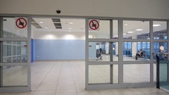 Entry to the concourse or emergency exit. Stock Footage