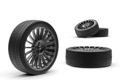 Car wheels with a titanium disk isolated Stock Illustration