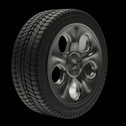 Car wheels with a titanium disk on a black background Stock Illustration