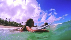 Beauty Attractive Girls Surfing Duck Diving Wave In Slow Motion Stock Footage