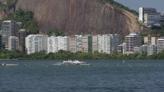 Rowers competing in lagoon rio 2016 Stock Footage