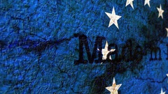 Made in eu grunge concept Stock Footage
