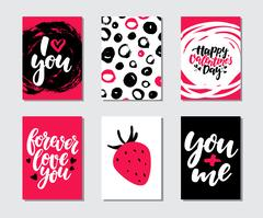 Valentines day gift card vector set. Hand drawn printable templates with le.. Stock Illustration