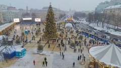 The view from bell tower of St Sophia Cathedral on Christmas Festival in Kiev Stock Footage
