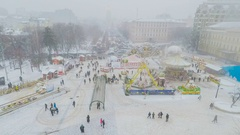 The Time-lapse of Christmas Fair in St Michael's Square in Kiev Stock Footage
