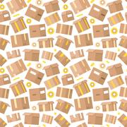 Carrying boxes seamless pattern warehouse shipping container Stock Illustration