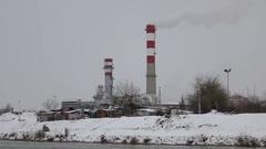 Heavy industry Factory Smoke Small Romani Community Stock Footage