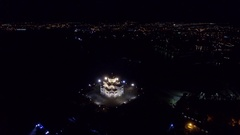 Aerial video of St. Vladimir Cathedral in Chersonesos at night time Stock Footage