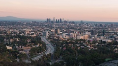 4K Los Angeles, California Static Day to Night Overlooking Hollywood & Downtown Stock Footage