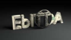 Focused Lens animation on 3D EbITDA word with dollar note texture Stock Footage