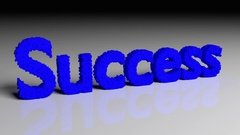 Dissolve animation of 3D word success in blue Stock Footage