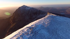 Spectacular panoramic aerial shot of Crib Goch and Mount Snowdon. Stock Footage