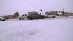 Road covered with snow after the Winter storm. Stock Footage