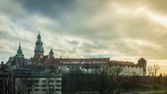 Wawel Castle with dynamic clouds, Cracow, Poland Stock Footage