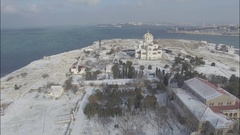 Aerial video of the winter Chersonese and the Vladimir Cathedral. Stock Footage