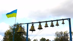 The ukrainian flag flying in the wind Stock Footage