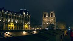 PARIS, FRANCE Steadicam shot of Seine river embankment and Stock Footage