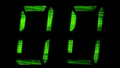 Digital direct reading timer with 60 seconds interval, the green numbers Stock Footage