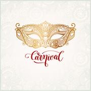 Old venetian carnival mask with ornamental floral feather and hand lettering Stock Illustration