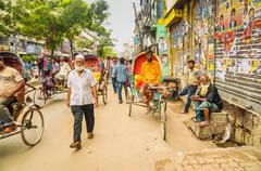 Busy street in Bangladesh Stock Photos