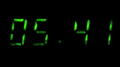 Digital clock shows time of 05 minutes 40 seconds to 06 minutes 10 seconds Stock Footage