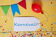 Party Label, Confetti, Balloon, Karneval Means Carnival Stock Photos
