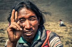 Man and peace in Nepal Stock Photos