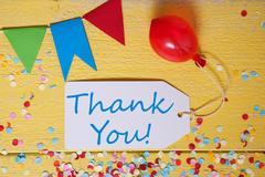 Party Label, Confetti, Balloon, Text Thank You Stock Photos