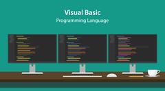Illustration of Visual Basic programming language code displayed on three Stock Illustration
