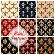 Fleur-de-lys french royal seamless pattern set Stock Illustration