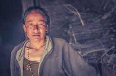 Woman with piercing and earrings in Nepal Stock Photos