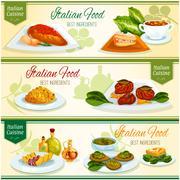 Italian cuisine lunch with dessert banner set Stock Illustration