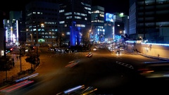Busy Intersection in Osaka Umeda business district Time lapse at night Stock Footage