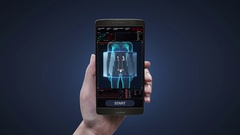 Touching health care diagnosis application on mobile, Scanning kidneys Arkistovideo
