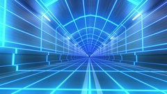 Loop tunnel 80s retro tron future wireframe arcade road tube subway neon glow 4k Stock Footage