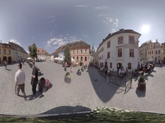 Clock Tower and House of Dracula, sighisoara Romania, 360 video Stock Footage
