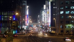 Osaka city bright lights at night Time lapse  Stock Footage
