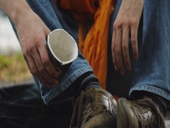 Homeless Person Receiving a Coin Stock Footage