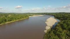 Rising high over the Rio Napo in the Ecuadorian Amazon  Stock Footage
