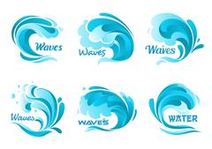 Water splash icons. Vector isolated ocean waves Piirros