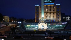 Independence Square at night, view on Independence Monument. Stock Footage