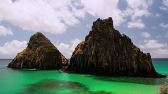 Fernando de Noronha famous two brothers rock Stock Footage