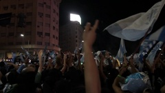 Argentina Fans celebrating with team Stock Footage