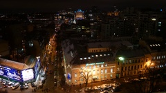 View of the night Kyiv from the bell tower of St. Sophia Cathedral. Stock Footage