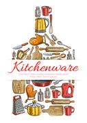 Kitchenware sign in shape of cutting board Stock Illustration