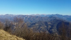 Great landscape on the Orobie Alps and Padana from Linzone Mountain Stock Footage
