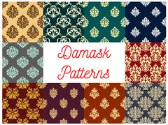 Damask floral ornament seamless patterns Stock Illustration