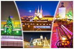 City of Zagreb advent evening postcard Stock Photos